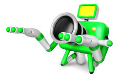 Green Camera Character kneel in prayer. Create 3D Camera Robot S Royalty Free Stock Photography
