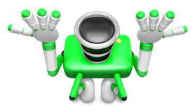 Green Camera Character kneel in prayer. Create 3D Camera Robot S Royalty Free Stock Photo