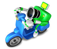 Green camera character the left motorbike driving. Create 3D Cam Stock Photos