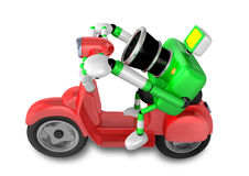 Green camera character the right motorbike driving. Create 3D Ca Royalty Free Stock Images