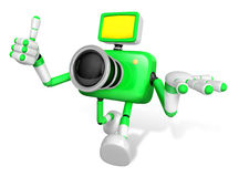 The Green Camera Character Taking the right hand is the best ges Royalty Free Stock Image