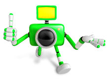 The Green Camera Character Taking the right hand is the best ges Royalty Free Stock Photos