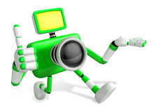 The Green Camera Character Taking the right hand is the best ges Stock Image