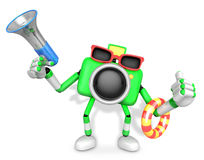 Green Camera Character on their Vacation journey. Create 3D Came Stock Images