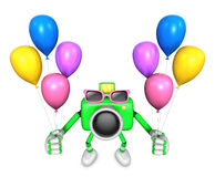 Green camera character to the event activity. Create 3D Camera R Stock Photography
