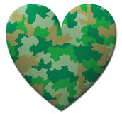Green Camouflage Heart Stock Photography