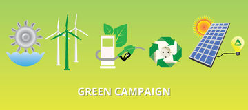 Green campaign concept with new energy alternatives solar panel. Illustration Royalty Free Stock Photography