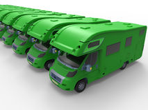 Green camper vans Royalty Free Stock Image