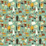 Green camping pattern Stock Photos
