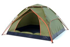 Green Camping Tent. 3d illustration of a green camping tent stock images