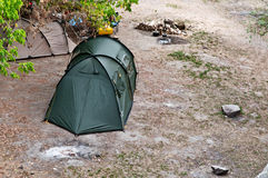 Green camping tent  in the morning Stock Image