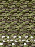 Green camuflage Texture with editable design Water lily. Editable camuflage texture with green and brown water lily leaves. The background is static, but the Royalty Free Illustration