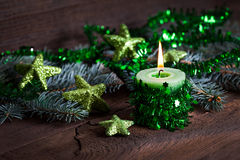Green candle for christmas Royalty Free Stock Images