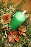 Green candle decoration Royalty Free Stock Images