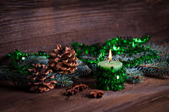 Green candle with decoration Stock Image
