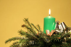 Green candle greeting card ikebana Royalty Free Stock Images