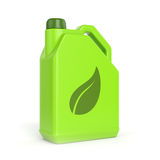 Green canister with leaf symbol. Green energy and bio fuel concept. Gasoline jerrycan with leaf symbol isolated on white background Royalty Free Stock Image