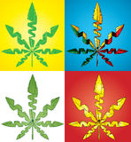 Green cannabis marijuana leaf symbol  illustration Royalty Free Stock Photo