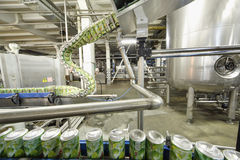 Green cans go on conveyor in Ochakovo factory Royalty Free Stock Images