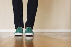 Green Canvas Sneakers Royalty Free Stock Photography