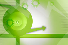 green cap on left with arrow and sun shape design, abstract design Stock Images