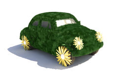 Green car. Grass covered car - eco transport concept illustration Royalty Free Stock Photos