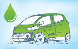 Green car. An illustration of a green car such as a hybrid Stock Image