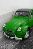 Green car. Old green citroen on black and white background Stock Photography