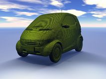 Green car. Outline of a small car colored green with a wood grain texture against a blue sky with light clouds.  Environmental vehicle theme Stock Photography