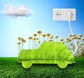 Green car. Cut from leaf. Check out my gallery for more eco images Royalty Free Stock Photo