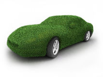 Green car. Car covered by grass; high quality 3d render Royalty Free Stock Photos