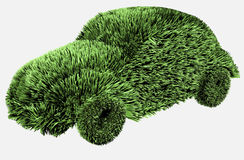 Green car. Car created from green grass isolated on white background Royalty Free Stock Photo