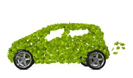 Green car. Funny environmentally friendly car isolated on white. Go Green- concept stock illustration