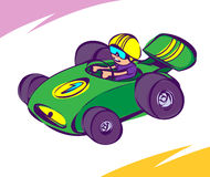 Green Car. Guy driving a green race car Royalty Free Stock Photos