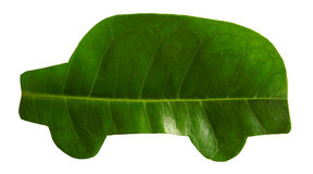 Green car. Cut out of leaf Royalty Free Stock Photography