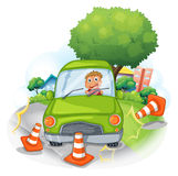 A green car bumping the traffic cones. Illustration of a green car bumping the traffic cones on a white background Royalty Free Stock Image