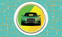 Green car chameleon on blue background with lines Stock Images