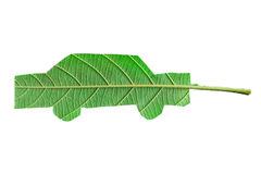 Green car cut from leaf. ECO concept Royalty Free Stock Photos