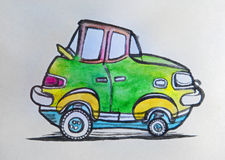 Green car. Drawn on paper with pencil pen and watercolors royalty free illustration