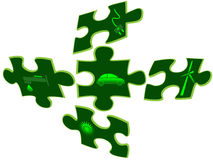 Green car Eco background. Green car and altenative energy on puzzle pieces Royalty Free Stock Photos