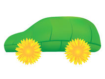 Green car, an eco icon. Green car made of leaf and sunflowers Stock Photography