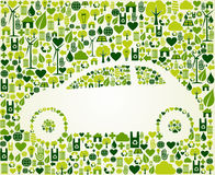 Green car with eco icons set Stock Image