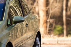 Green car. Forest reflecting on the cars windows and body. Royalty Free Stock Images