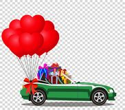Green  car full of gifts and bunch of red balloons. Green modern opened cartoon cabriolet car full of gifts and bunch of red helium heart shaped balloons with Royalty Free Stock Photos