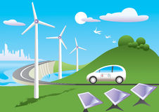 Green car among green energy. Green car  is traveling among green energy sources -  illustration Stock Images