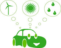 Green car with green energy. A green car with wind, solar and water energy sources Royalty Free Stock Photo