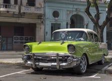 Green car in Havana, Cuba. Vintage car parked in Havana, Cuba Stock Image