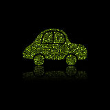 Green Car Icon. Pollution Concept. Royalty Free Stock Image