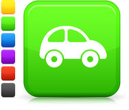 Green car icon on square internet button Royalty Free Stock Photos