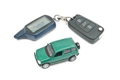 Green car and keys on white Stock Image